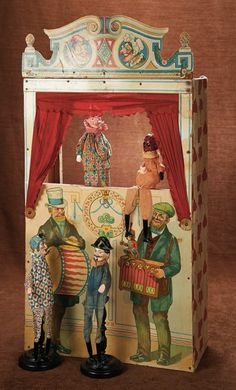 19th Century Toy Theatre with Original Colorful Puppets of Punch, Judy,Policeman and Devil, circa 1890