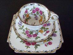 VINTAGE MIKADO AYNSLEY Bone China Tea Cup Saucer & Luncheon Plate Trio Rare