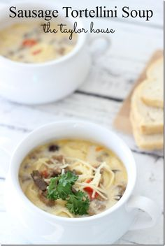 Slow Cooker Sausage Tortellini Soup, make without mushrooms, uses Jimmy Dean sausage crumbles, frozen tortellini, heavy whipping cream