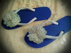 Blue & Pink Polka Dot Fancy Flip Flops by fancyflop on Etsy, $22.50
