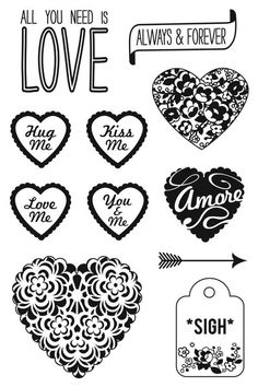 Hero Arts Messages With Flourish 4 X 6  CL738 Clear Cling Stamp Set of 10 Hearts