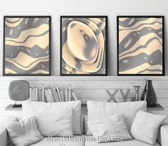 Neutral Abstract Wall Art Set of 3 Prints Gray Beige Painting | Etsy