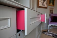 Paint the sides of drawers for a surprise pop of color