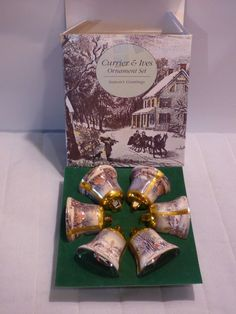 VTG Currier & Ives Christmas Ornament Set w/Box Bells Victorian Royal Heritage
