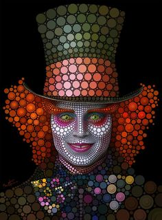 retratos de famosos circulos sombrerero loco