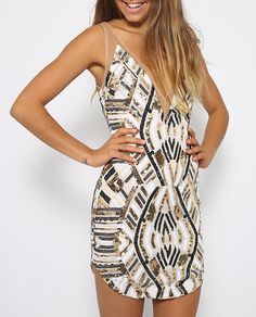 e5fb3684c72 V collar sleeveless sequined dresses geometry Party dress