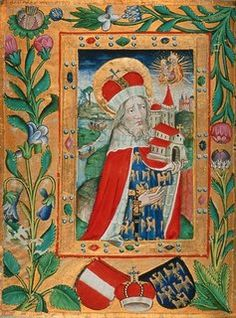 "Roman Miscellany: The Legend of St Leopold | illuminated Book of Hours meld old Austrian heraldic tinctures (Azure & or) with frankish Babenberg's Gules & argent) Radiant celestial aura of an ""Eastern Dawn"" surrounds heavenly reigning Madonna & Child (inspiration for founding of many religious houses and monasteries across the oriental marches of the Holy Roman Empire)"