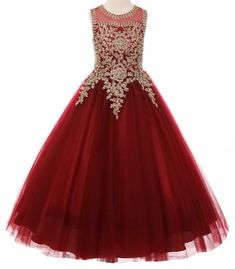 Jaleah - Burgundy Guilded Lace Ball GownBurgundy long princess dress with an elegant adored on top with gold coil lace studded with stunning AB rhinestone, wired bottom skirt