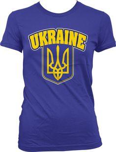 Ukraine Ukranian Ukrayina Football Soccer Coat Of Arms Juniors Girls T-Shirt