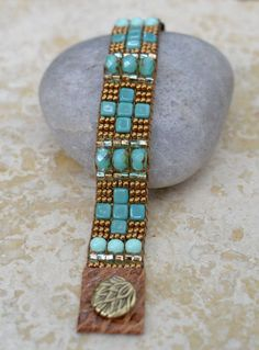loomed beaded bracelets | Loomed Beaded Bracelet - Sundance Style Artisan Jewelry - Copper and ...