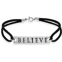 @Overstock - Add a touch of inspiration to your style with a fashionable 'Believe' bracelet  Jewelry features a silver plate inscribed with the word 'Believe' linked by satin cords  Bracelet is crafted of sterling silver with rhodium platinghttp://www.overstock.com/Jewelry-Watches/Sterling-Silver-Believe-Bracelet/4048953/product.html?CID=214117 $18.99