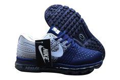 Hommes Nike Air Max 2017 Flyknit Chaussures Bleu foncé/gris/blanc