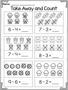 Subtraction Worksheets for Kindergarten and Subtraction Activities Subtraction Kindergarten, Addition And Subtraction Worksheets, Subtraction Activities, Printable Preschool Worksheets, Free Kindergarten Worksheets, Math Literacy, Preschool Math, Math Activities, Numeracy