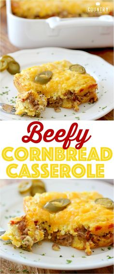 Beefy Cornbread Casserole is a simple and filling supper! Seasoned ground beef with salsa and cornbread mix with melty cheese. Healthy Potato Recipes, Sweet Potato Recipes, Dog Recipes, Mexican Food Recipes, Cooking Recipes, Hamburger Recipes, Cauliflower Recipes, Casseroles Healthy, Easy Recipes