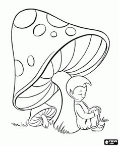 a tiny creature sleeping under a mushroom a pixie coloring page