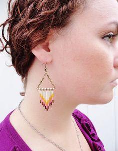 Southwest Sunset Hand Beaded Chevron Earrings