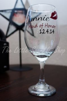 Bridesmaids, Maid of Honor Gift, Wine Glasses by TheLittleSparkleShop on Etsy
