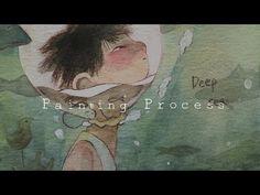 "Painting Process:수채화 일러스트/Watercolor illustration ""deep sea"" by jiyeon"