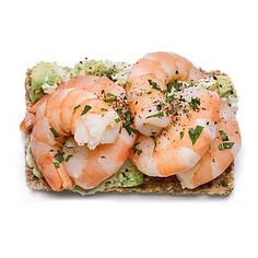 We love this filling Shrimp Stack snack! It's loaded with 129 calories, 4 grams of fiber, and heart-healthy fats. | Health.com