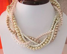 Pearl Statement Necklace Chunky Pearl Necklace by SLDesignsHBJ