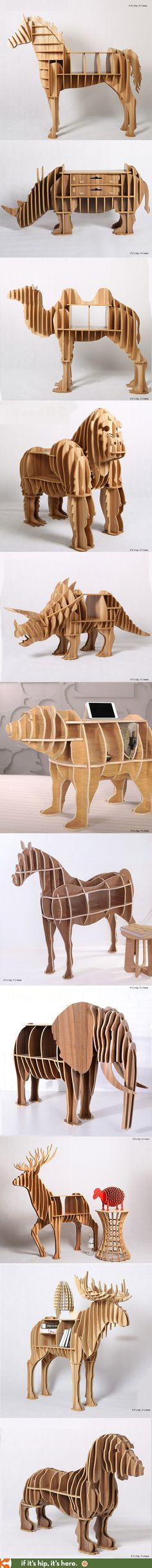 The 20 most awesome animal bookcases, desks and end tables you can buy. They ship flat-packed and are easily assembled without nails or glue. More at www. Woodworking Plans, Woodworking Projects, Learn Woodworking, Wood Furniture, Furniture Design, Cnc Projects, Wood Toys, Wood Design, Yard Art