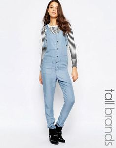 Shop Noisy May Tall Chambray Button Through Jumpsuit at ASOS. Casual Wear Women, Women's Casual, Noisy May, Blue Jumpsuits, White Jumpsuit, Drop Crotch, Tall Women, Chambray, Fashion Online