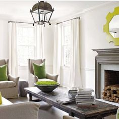 neutral with pops of lime green