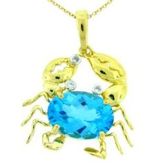 Meredith Leigh crab necklace. Gold over sterling silver with blue topaz and diamond accents. $89.99