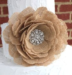 Burlap rose brooch flower wedding cake topper/decor. other colors available.