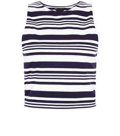 White Stripe Crop Top  | New Look - 5.40 EUROS