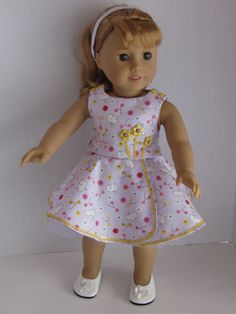 """18"""" inch doll clothes fits dolls such as American Girl skirt top petticoat headband spring bunnies flowers 18"""" dolls similar build made USA by DreamyDoll on Etsy"""
