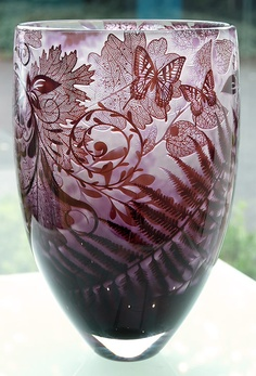 Jonathan Harris ~ Intrinsic Cameo Mulberry Butterflies and Foliage Vase