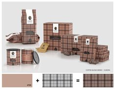 Coffee packaging. Tartan texture.