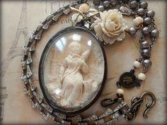 Antique French Meerschaum Necklace Saint Genevieve by Vinchique, $345.00