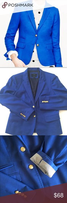 J. Crew Schoolboy Blazer Wool Festival Blue Sz 12 J. Crew | Schoolboy Blazer Wool | Festival Blue 🛍 Gently used condition. Slight creasing by breasts. Please see photos.   * 100% Wool * Lined * Imported * Front pockets * Double button front closure * Gold emblem buttons add detailing to front closure and sleeves * Imported * Dry clean * Size 12. Please see photo for measurements. J. Crew Jackets & Coats Blazers
