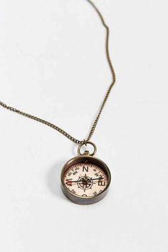 We Are All Smith Antique Compass Necklace- Bronze One