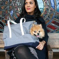 Get ready for spring excursions with Felix Chien carriers, like the Pet Tote- Grey and Navy! Shop now at www.felixchien.com !