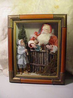Norma-DeCamp-Shadow-Box-with-Santa-and-Child-Santa-at-the-Gate-Come-See. Sold for $162.50 on 12/11/14.