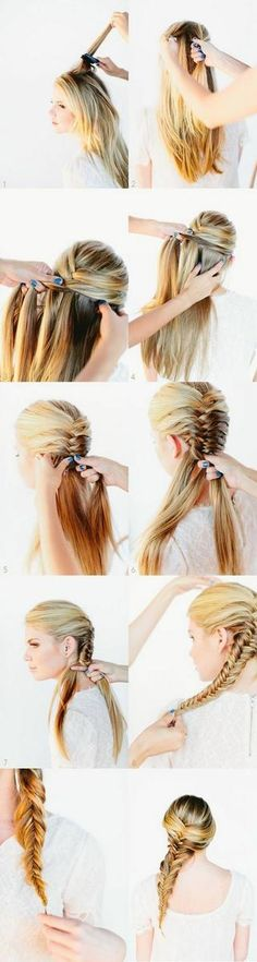 Tuto Frisur mittlere und lange Haare in 9 Ideen einfach und schnell zu erreichen Tuto coiffure cheveux mi long et long en 9 idées faciles et rapides à réaliser – Farbige Haare Fishtail Braid Hairstyles, Braided Hairstyles Tutorials, Diy Hairstyles, Pretty Hairstyles, Easy Hairstyle, Wedding Hairstyles, Hairstyle Ideas, Fishtail Braid Tutorials, Bridal Hairstyle
