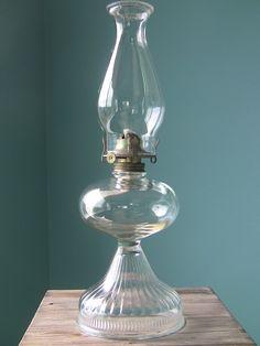 antique lamps   Large Vintage Oil Lamp-Hurricane Lamp-Antique Glass Lamp