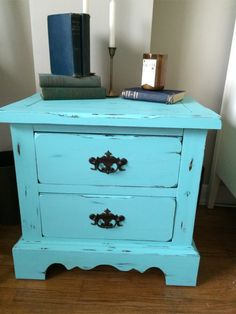 Style and custom painted and distressed antique, vintage shabby chic nightstand / side table for $70.  Available on 5miles, excellent condition, real wood, custom matte gloss finish, spacious 2 drawers with antique hardware. Height 23 inches, width 24 1/4 inches depth 16 inches.