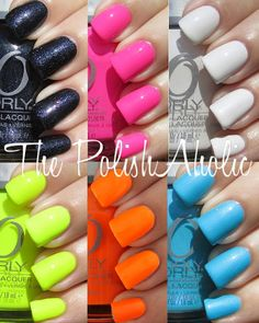 "Orly ""Feel The Vibe"" Summer '12 collection: Beach Cruiser- Neon pink/ Skinny Dip- Electric light blue/ Dayglow- Pearl white/ After Party- Iridescent navy blue/ Melt Your Popsicle- Neon orange/ Glowstick- neon yellow I only do neon on toes, though."