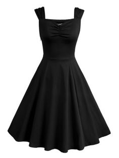 Shop Black Sweetheart Ruched Skater Dress from choies.com .Free shipping Worldwide.$23.79
