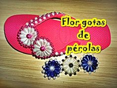 chinelo bordado com flor gotas de pérola - YouTube