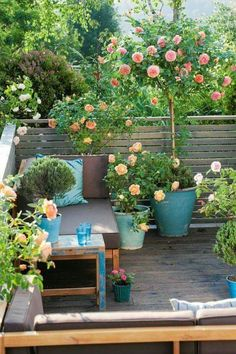 Potted plants and colorful pillows make this balcony a private getaway.