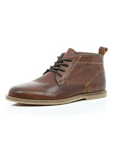 River Island | Brown Leather Lace Up Desert Boots for Men | Lyst