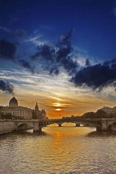 Sunset over the river Seine, Paris by stelladraw
