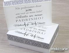 Convite padrinhos de casamento. Orçamentos e pedidos pelo e-mail contato@efeitoearte.com.br