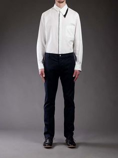 Yohji Yamamoto white cotton asymmetric collar shirt