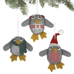 Set of 3 Wooly Penguin Ornaments in Christmas Ornaments | Crate and Barrel